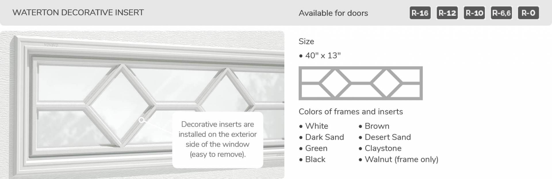 Waterton Decorative Insert, 40' x 13', available for doors R-16, R-12, R-10, R-6,6 and R-0